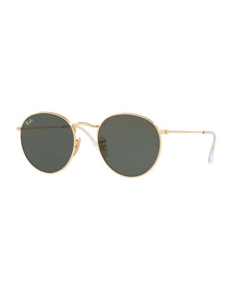 Monochromatic Round Metal Sunglasses, Green Pattern