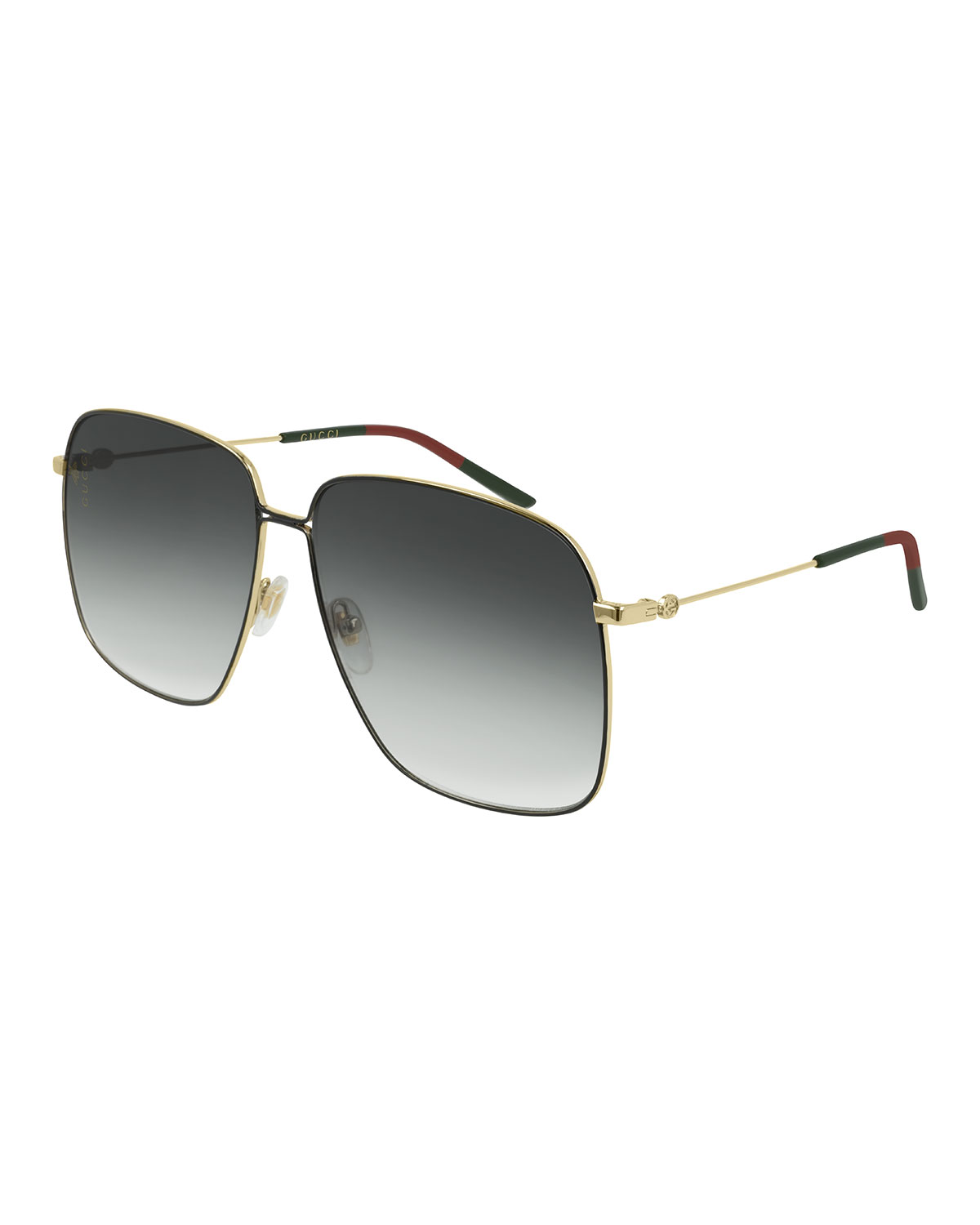 Gucci Sunglasses Square Metal Sunglasses w/ Web Ear Tips