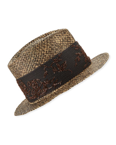 Monili-Wrapped Straw Fedora Hat