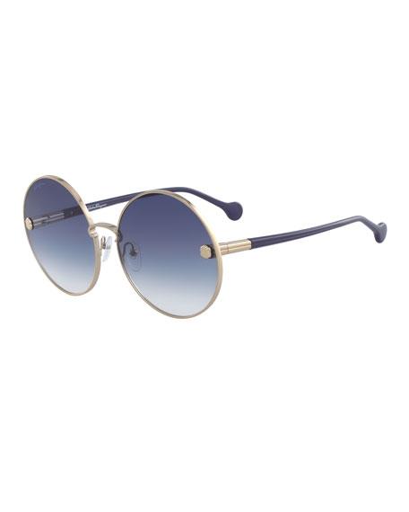 Salvatore Ferragamo Fiore Gradient Round Sunglasses Bergdorf Goodman