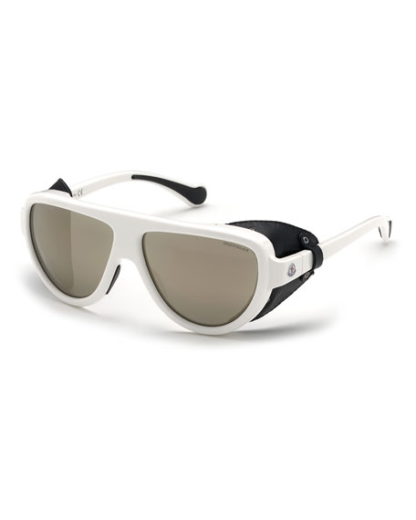 Image 1 of 1: Mirrored Wrap Sunglasses w/ Leather Side Blinders