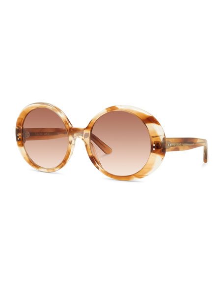 Image 1 of 1: Round Gradient Chunky Acetate Sunglasses