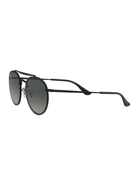Round Lens-Over-Frame Metal Sunglasses