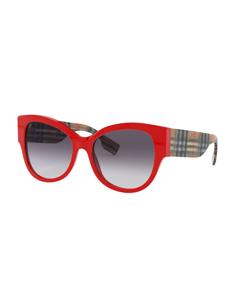 Image 1 of 1: Butterfly Acetate Sunglasses w/ Check Arms