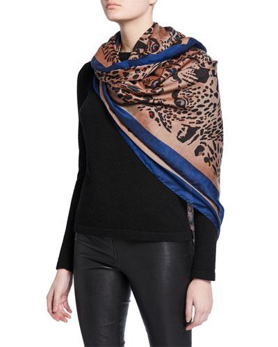 Sciarpa Bombay Leopard-Print Silk/Cashmere Shawl with Border