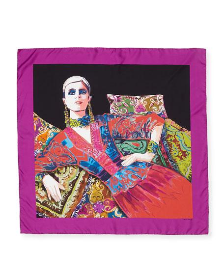 Portrait of a Lady-Print Silk Scarf