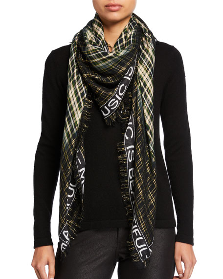 Image 1 of 1: Scotty Metallic Plaid Message Border Scarf