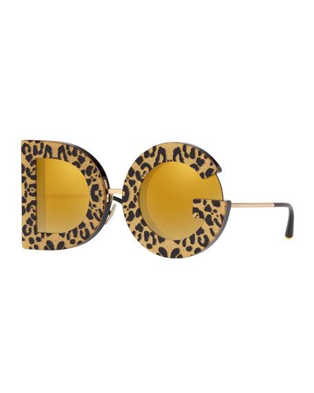 Shimmer Leopard Print D&G Mirrored Sunglasses