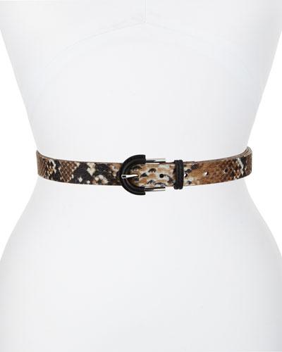 Printed Calf Hair Waist Belt