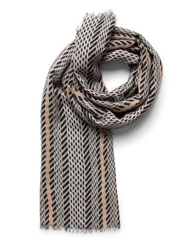 Cashmere-Silk Broken-Stripe Scarf