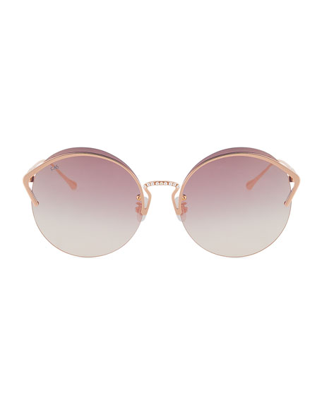 Semi-Rimless Round Sunglasses w/ Faux Pearl Trim