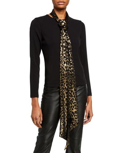 Metallic Leopard Print Skinny Scarf