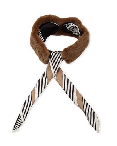 Mink Collar w/ Detachable Striped Silk Scarf