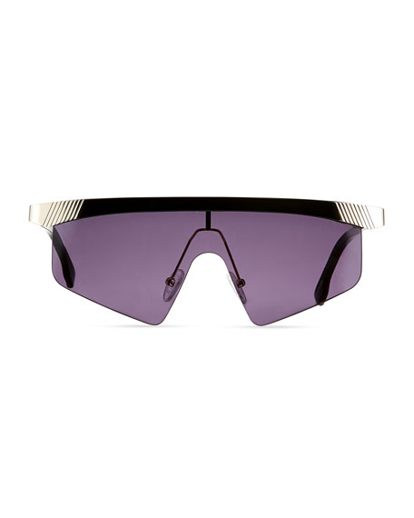 Engineer Semi-Rimless Aviator Shield Sunglasses