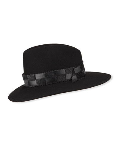 Wool Fedora Hat w/ Hair Hide & Leather Band