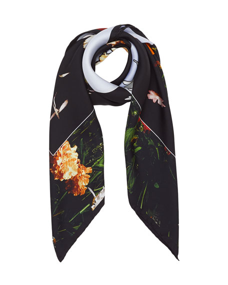 Photographic Sky Floral-Print Silk Twill Scarf