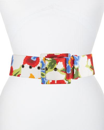 Floral Print Leather Belt