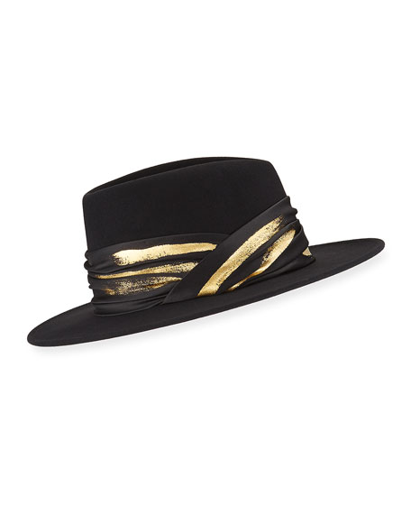 Blaine Wool Fedora w/ Imitation Gold Leaf Band
