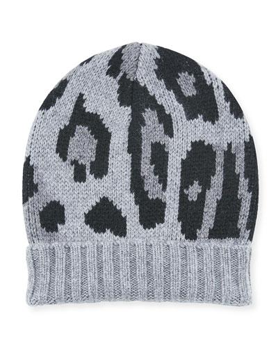 Alexis Leopard-Print Knit Cashmere Beanie