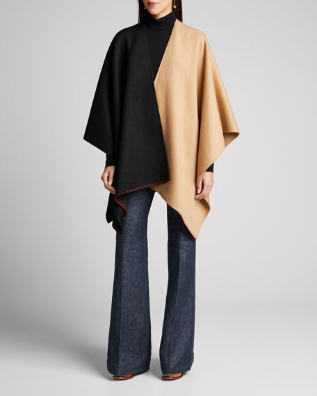 Francis Cashmere Two-Tone Stitched Poncho
