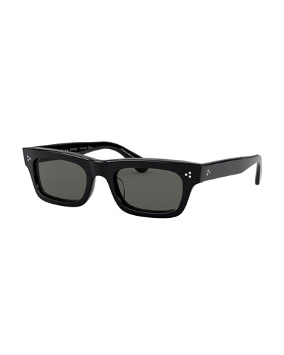 Rectangle Polarized Acetate Sunglasses