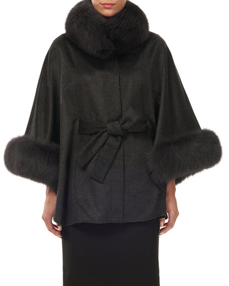 Image 1 of 1: Cashmere Belted Cape w/ Fur Collar & Cuffs