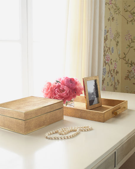 Gold Linen Jewelry Box, Larg