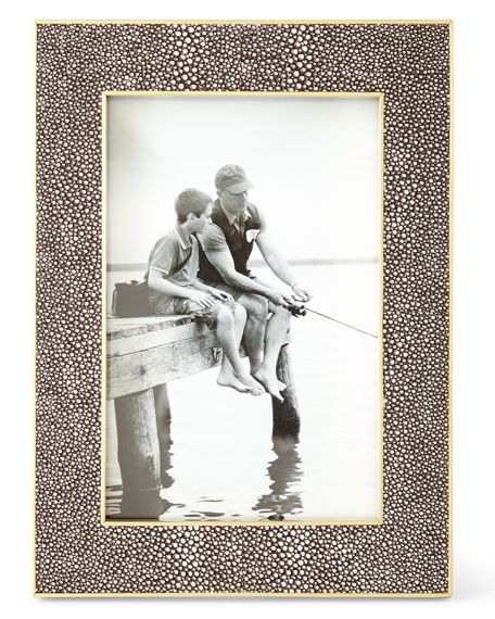 """Classic Chocolate Faux-Shagreen Picture Frame, 4"""" x 6"""""""