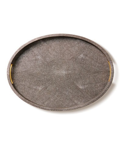Modern Chocolate Faux-Shagreen Tray