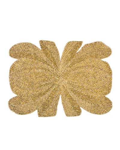 Peacock Hand-Beaded Placemat  Gold