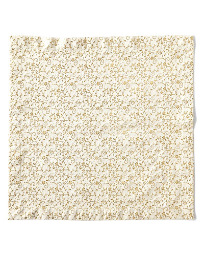 Floral Textured Napkin  Gold