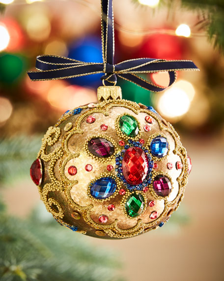 Image 1 of 1: Gold Glass Ball Christmas Ornament With Multi Stones