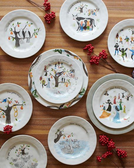 Twelve Days of Christmas Cocktail Plate Set, Set of 12
