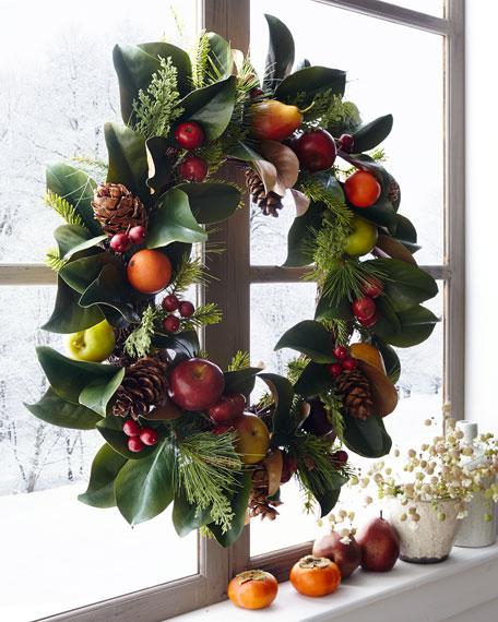"Pine Cone/Fruit/Foliage Wreath, 30"""