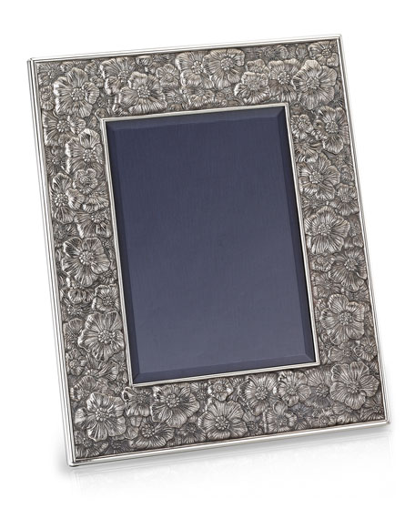 """Gardenia Silver & Leather Picture Frame, 8"""" x 10"""""""