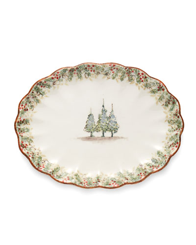 Natale Scalloped Oval Platter