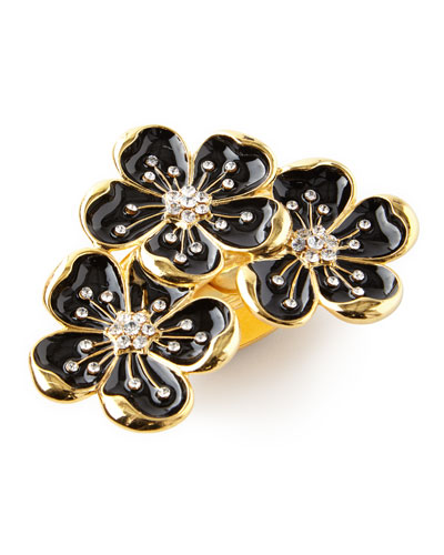Black and Gold Flower Trio Napkin Ring  Set of 4
