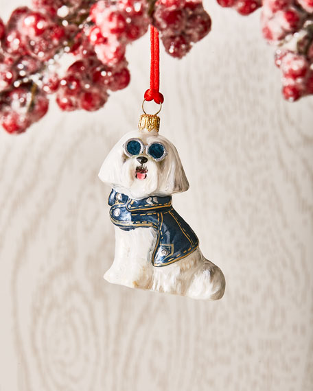 Maltese in Denim Jacket Ornament