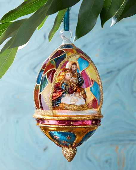 Nativity In Dome Christmas Ornament