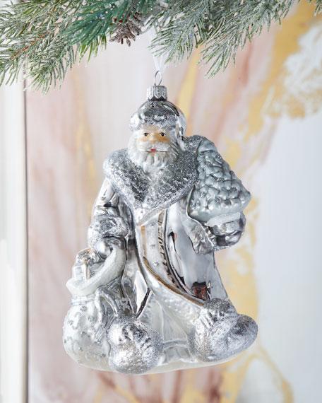 Silver Santa Christmas Ornament