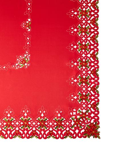 Poinsettia 72 x 90 Tablecloth with 8 Napkins