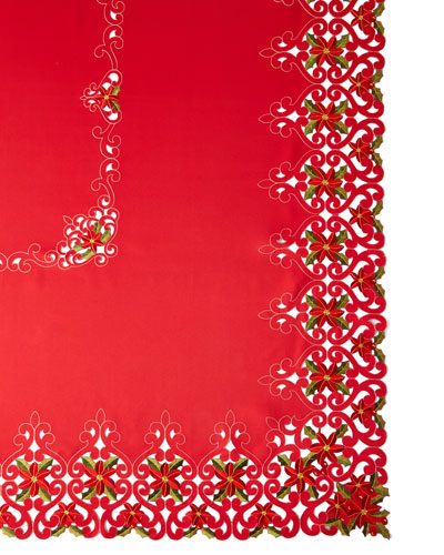 Poinsettia 72 x 108 Tablecloth with 12 Napkins