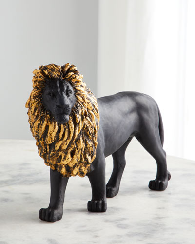 Black & Gilded Sand Lion Figurine
