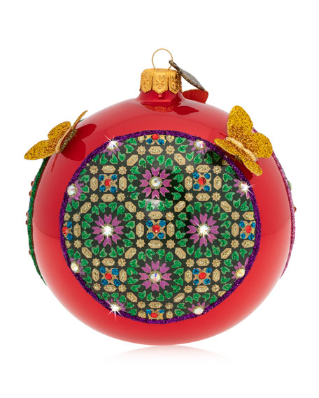 """Pattern And Butterfly 4"""" Glass Christmas Ornament"""
