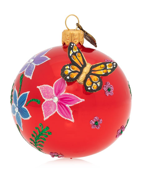 "Floral Butterfly 3"" Glass Or Christmas Ornament"