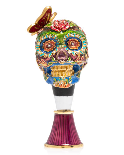 Skull Wine Stopped and Stand