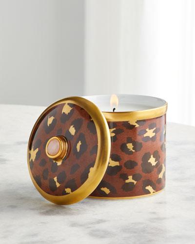 Leopard Candle with Rose Quartz  10 oz.