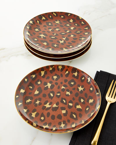 Leopard Dessert Plates  Set of 4