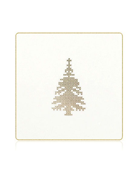 Cross Stitch Christmas Tree Coasters, Box of 18