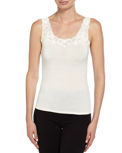 Aspire Lace-Trim Jersey Tank  Ivory